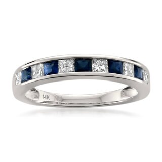 Montebello 14k White Gold 2/5ct TDW Princess-cut Diamond and Blue Sapphire Wedding Band (H-I, I1)