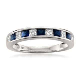 montebello 14k white gold 25ct tdw princess cut diamond and blue sapphire wedding - Sapphire And Diamond Wedding Rings