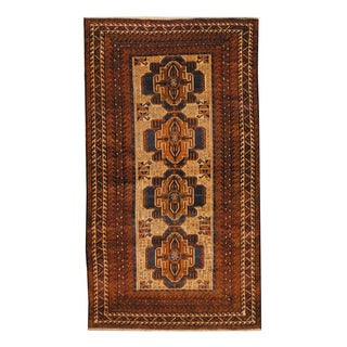 Herat Oriental Afghan Hand-knotted Semi-antique Tribal Balouchi Brown/ Ivory Wool Rug (3'10 x 6'11)