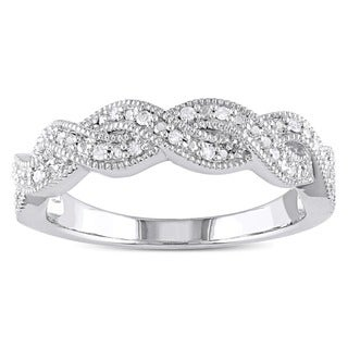 Miadora Sterling Silver 1/10ct TDW Diamond Infinity Band Ring (G-H I2-I3)