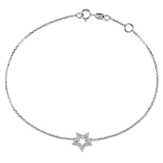 Miadora 14k White Gold 1/10ct TDW Diamond Star Bracelet