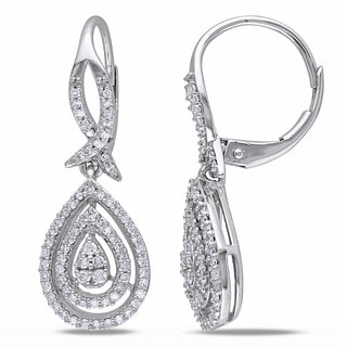 Miadora 10k White Gold 1/2ct TDW Diamond Leverback Teardrop Pear Shape Earrings (G-H, I2-I3)