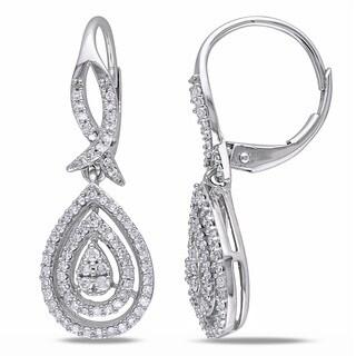 Miadora 10k White Gold 1/2ct TDW Diamond Leverback Teardrop Pear Shape Earrings