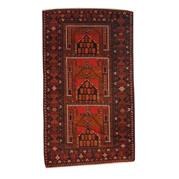 Handmade Herat Oriental Afghan 1960s Semi-antique Tribal Balouchi Wool Rug (Afghanistan) - 3'6 x 6'1