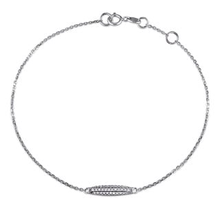 Miadora 14k White Gold 1/10ct TDW Diamond Bar Charm Bracelet