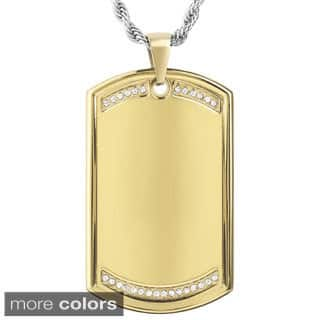 Men's Stainless Steel Cubic Zirconia Dog Tag Pendant Necklace|https://ak1.ostkcdn.com/images/products/10039181/P17184143.jpg?impolicy=medium
