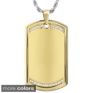 Men's Stainless Steel Cubic Zirconia Dog Tag Pendant Necklace