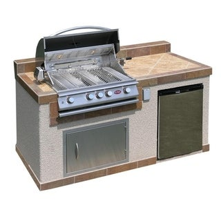 Cal Flame Outdoor Kitchen 4-burner Barbecue Grill Island with Refrigerator