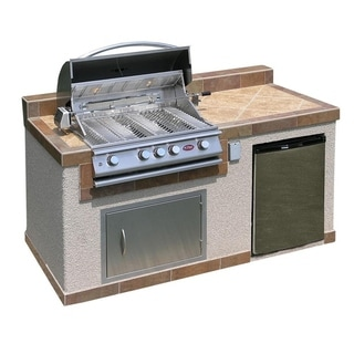 kenmore elite grill island. cal flame outdoor kitchen 4-burner barbecue grill island with refrigerator kenmore elite