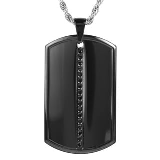 Men's Blackplated Stainless Steel Cubic Zirconia Dog Tag Pendant Necklace