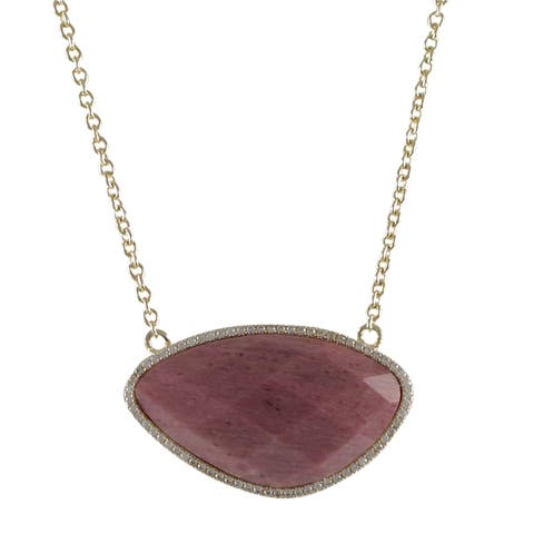 Luxiro Goldtone Sterling Silver Semi-precious Gemstone and Cubic Zirconia Necklace