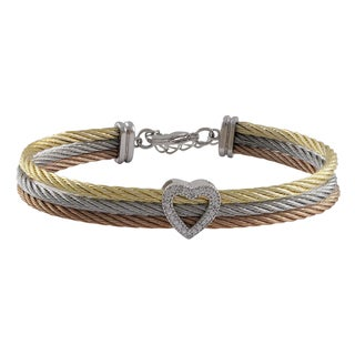 Luxiro Tri-color Stainless Steel Cubic Zirconia 3-row Heart Bangle Bracelet