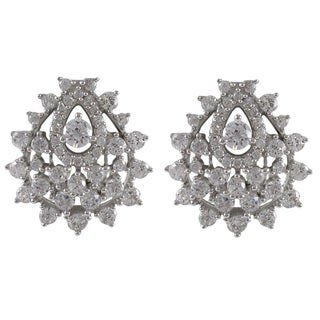 Luxiro Sterling Silver Cubic Zirconia Cluster Omega Earrings