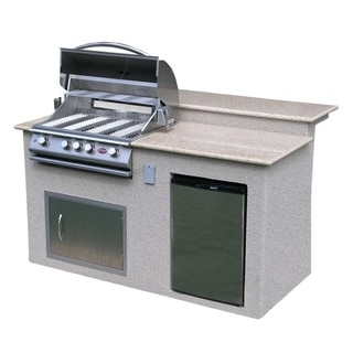 Link to Cal Flame Outdoor Kitchen 4-Burner Barbecue Grill Island With Refrigerator Similar Items in Grills & Outdoor Cooking
