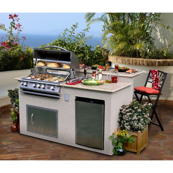 Cal Flame Outdoor Kitchen 4-Burner Barbecue Grill Island