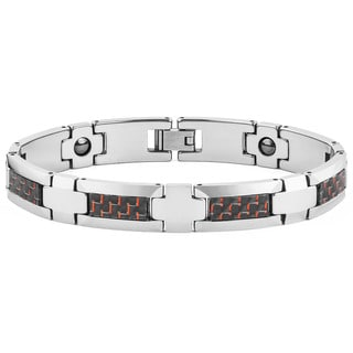 Men's Red and Black Carbon Fiber Tungsten Carbide Link Bracelet (8 in)