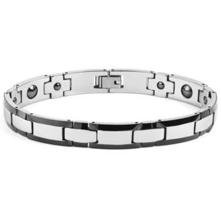 Men's Two Tone High Polish Tungsten Carbide Link Bracelet