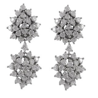 Luxiro Sterling Silver Cubic Zirconia Cluster Dangle Wedding Earrings