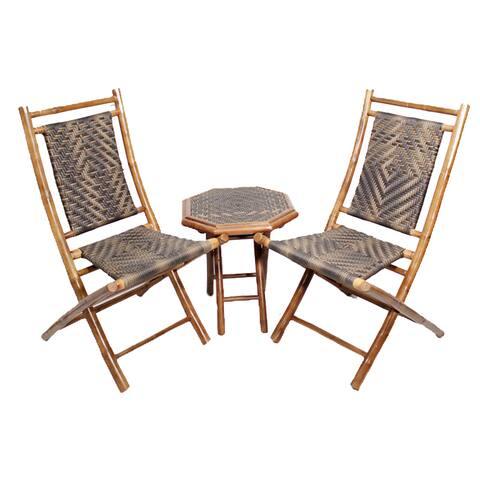 Havenside Home Bayview 3-piece Brown Frame Bamboo Bistro Set
