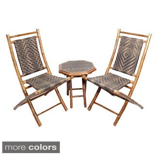The Curated Nomad Telegraph Hill 3-piece Brown Frame Bamboo Bistro Set