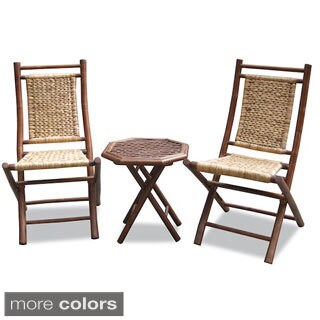The Curated Nomad Telegraph Hill 3-piece Bamboo and Woven Bistro Set