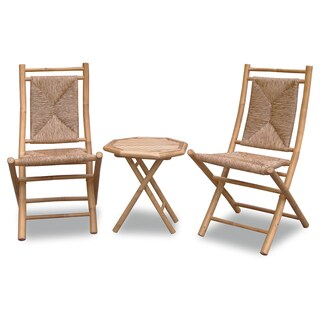 Havenside Home Bayview 3-piece Woven and Bamboo Bistro Set