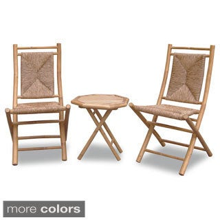 Heather Ann 3-piece Woven and Bamboo Bistro Set