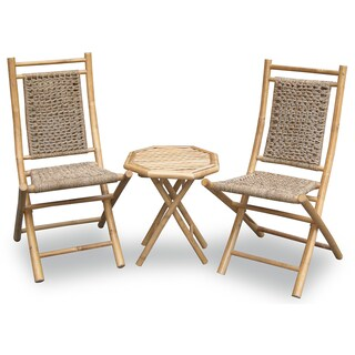 The Curated Nomad Telegraph Hill 3-piece Water Hycinth and Bamboo Bistro Set