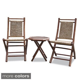 Heather Ann 3-piece Water Hycinth and Bamboo Bistro Set