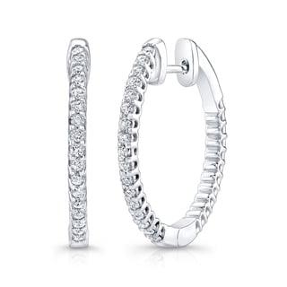 Platinum over Silver  3/4ct TDW Diamond Hoop Earrings (H-I, I1-I2)