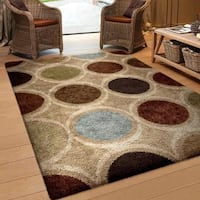 Carolina Weavers Riveting Shag Collection Ember Multi Shag Area Rug - 5'3 x 7'6