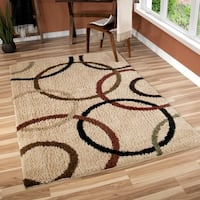 Carolina Weavers Riveting Shag Collection Rotating Rings Beige Shag Area Rug - 5'3 x 7'6