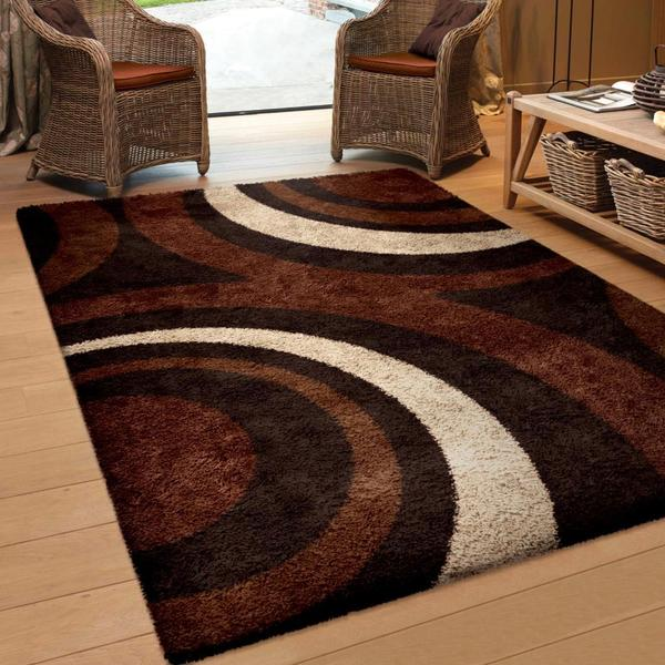 Carolina Weavers Riveting Shag Collection Circular Flare Brown Shag Area Rug  (5u0026#x27;