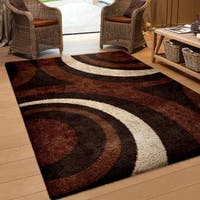 Carolina Weavers Riveting Shag Collection Circular Flare Brown Shag Area Rug - 5'3 x 7'6