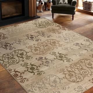 "Virtuous Collection Neutral Damask White Area Rug (5'3"" x 7'6"")"