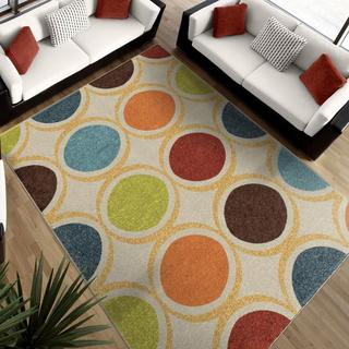"Aria Collection Color Circles Ivory Area Rug (5'2"" x 7'6"")"