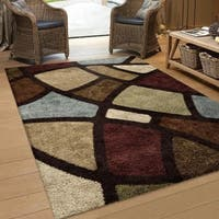 Clay Alder Home Bennett Window Pane Brown Shag Area Rug (7'10 x 10'10)