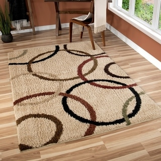 Carolina Weavers Riveting Shag Collection Rotating Rings Beige Shag Area Rug (7'10 x 10'10)