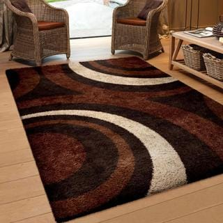 Carolina Weavers Comfy and Cozy Riveting Shag Collection Circular Flare Brown Shag Area Rug (7'10 x 10'10)