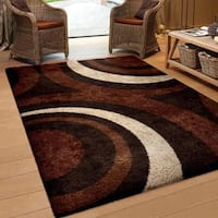 Carolina Weavers Riveting Shag Collection Circular Flare Brown Shag Area Rug - 7'10 x 10'10