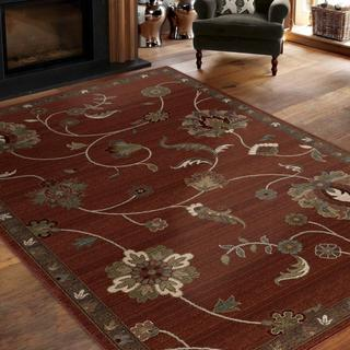 "Virtuous Collection Subtle Flora Red Area Rug (7'10"" x 10'10"")"