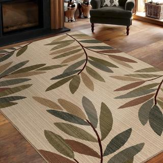 "Virtuous Collection Tangled Leaves Beige Area Rug (7'10"" x 10'10"")"