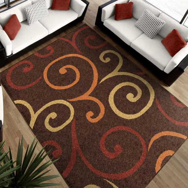 Aria Collection Multi Whirls Brown Area Rug (7'8 x 10'10)
