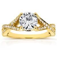 Annello by Kobelli 14k Yellow Gold 1 1/4ct TGW Round-cut Moissanite (HI) and Diamond Crisscross Band Engagement Ring