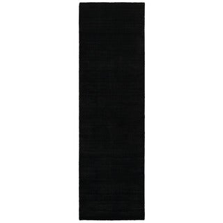 Satori Black Runner Solid Area Runner Rug (2'5 x 7'9)