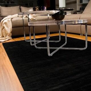 Satori Black Rectangle Solid Area Rug (5' x 7'9)