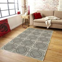 LR Home Luxor Smoke Blue Abstract Area Rug (5' x 7'9) - 5' x 7'9