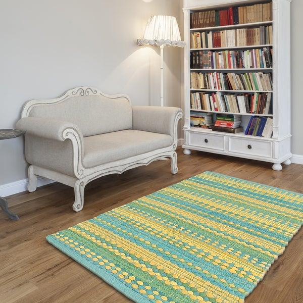 LR Home Hand Woven Altair Cotton Dhurry Blue/Yellow Cotton Chindi Rug - 8' x 10'