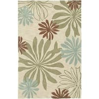 Fashion Blue/ Ivory Abstract Area Rug - 9' x 12'9