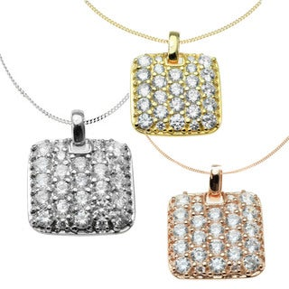 Michael Valitutti 14k Gold Cubic Zirconia Square Necklace
